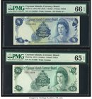Cayman Islands Currency Board 1; 5 Dollar 1971 (ND 1972); 1974 Pick 1a; 6a Two Examples PMG Gem Uncirculated 66 EPQ; Gem Uncirculated 65 EPQ.   HID098...