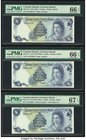 Cayman Islands Currency Board 1 Dollar 1974 (ND 1985) Pick 5a; 5c; 5d Three Examples PMG Gem Uncirculated 66 EPQ (2); Superb Gem Unc 67 EPQ.   HID0980...