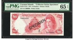 Cayman Islands Currency Board 10 Dollars 1974 Pick 7CS1 Collector Series Specimen PMG Gem Uncirculated 65 EPQ.   HID09801242017