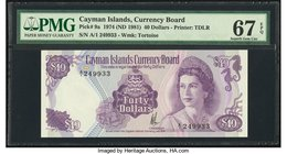 Cayman Islands Currency Board 40 Dollars 1974 (ND 1981) Pick 9a PMG Superb Gem Unc 67 EPQ.   HID09801242017