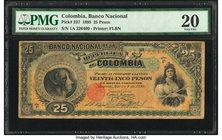 Colombia Banco Nacional de la Republica de Colombia 25 Pesos 4.3.1895 Pick 237 PMG Very Fine 20.   HID09801242017