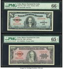 Cuba Banco Nacional de Cuba 1; 100 Pesos 1949; 1958 Pick 77a; 82c Two Examples PMG Gem Uncirculated 66 EPQ; Gem Uncirculated 65 EPQ.   HID09801242017