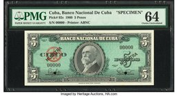 Cuba Banco Nacional de Cuba 5 Pesos 1960 Pick 92s Specimen PMG Choice Uncirculated 64. Two POCs.  HID09801242017