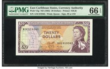 East Caribbean States Currency Authority 20 Dollars ND (1965) Pick 15g PMG Gem Uncirculated 66 EPQ.   HID09801242017