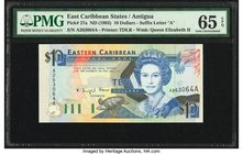 East Caribbean States Central Bank, Antigua 10 Dollars ND (1993) Pick 27a PMG Gem Uncirculated 65 EPQ.   HID09801242017