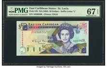 East Caribbean States Central Bank, St. Lucia 50 Dollars ND (1993) Pick 29l PMG Superb Gem Unc 67 EPQ.   HID09801242017