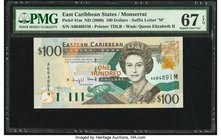 East Caribbean States Central Bank, Montserrat 100 Dollars ND (2000) Pick 41m PMG Superb Gem Unc 67 EPQ.   HID09801242017