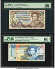 Falkland Islands Government of the Falkland Islands 20 Pounds 1.10.1984 Pick 15a PMG Gem Uncirculated 66 EPQ. East Caribbean States Central Bank 10 Do...