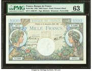 France Banque de France 1000 Francs 19.12.1940 Pick 96a PMG Choice Uncirculated 63. Stains, minor rust.  HID09801242017