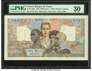 France Banque de France 5000 Francs 12.11.1942 Pick 103a PMG Very Fine 30. Pinholes.  HID09801242017
