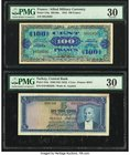 France Allied Military Currency 100 Francs 1944 Pick 118a PMG Very Fine 30; Turkey Central Bank 5 Lira 1930 (ND 1952) Pick 154a PMG Very Fine 30.   HI...