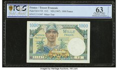 France Tresor Francais 1000 Francs ND (1947) Pick M10 PCGS Gold Shield Choice UNC 63 Details. Minor tear.  HID09801242017