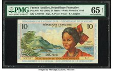 French Antilles Institut d'Emission des Departements d'Outre-Mer 10 Francs ND (1964) Pick 8b PMG Gem Uncirculated 65 EPQ.   HID09801242017