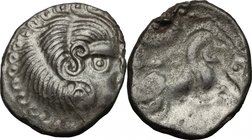 Celtic World.Northwest Gaul, Curiosolites.BI Stater, imitating Philip II of Macedon, c. 1st century BC.D/ Stylized head right.R/ Stylized horse gallop...