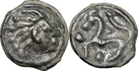 Celtic World.Northwest Gaul, Senones.Potin Unit, c. 100-50 BC.D/ Stylized bare head right.R/ Stylized horse left; pellets around.D&T 2640. Depeyrot, N...