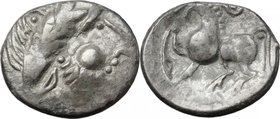 "Celtic World.Celtic, Eastern Europe.AR Tetradrachm, Type ""Kugelwange"", 2nd-1st century BC.D/ Head of Zeus right, laureate.R/ Horse left.Castelin 1280 ..."