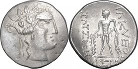Celtic World.Celtic, Eastern Europe.AR Tetradrachm, imitating Thasos, 1st century BC.D/ Head of Dionysos right, wearing ivy-wreath.R/ Herakles standin...