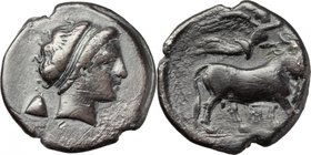 Greek Italy.Central and Southern Campania, Neapolis.AR Didrachm, c. 320-300 BC.D/ Head of nymph right, wearing taenia, earring and necklace; behind, p...