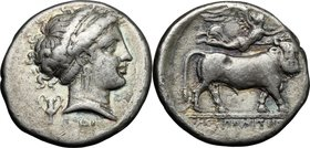 Greek Italy.Central and Southern Campania, Neapolis.AR Didrachm, c. 320-300 BC.D/ Head of nymph right, wearing taenia, earring and necklace; behind, k...