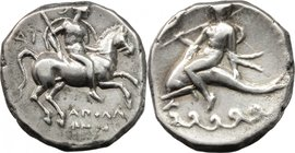 Greek Italy.Southern Apulia, Tarentum.AR Nomos, circa 272-240 BC.D/ Warrior on horseback right, holding shield and spear.R/ Phalanthos riding on dolph...
