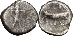 Greek Italy.Lucania, Poseidonia-Paestum.AR Obol, 410-350 BC.D/ Poseidon striding right, brandishing trident, wearing cloak over arms.R/ Bull right.HN ...