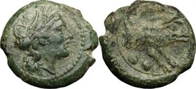 Greek Italy.Lucania, Poseidonia-Paestum.AE Sextans. Second Punic War, 218-201 BC.D/ Female head right; behind, two pellets.R/ Forepart of boar right; ...