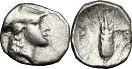 Greek Italy.Southern Lucania, Metapontum.AR Diobol, 315-275 BC.D/ Head of Athena right, helmeted.R/ Ear of barley.HN Italy 1596.AR.g. 1.08 mm. 11.00Ab...
