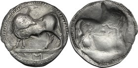 Greek Italy.Southern Lucania, Sybaris.AR Incuse Stater, 550-510 BC.D/ Bull standing left, head turned back; in exergue, VM.R/ Same type right, incuse;...