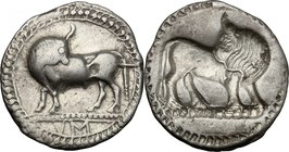 Greek Italy.Southern Lucania, Sybaris.AR Third Nomos (Drachm), c. 550-510 BC.D/ Bull standing left, head right; VM in exergue.R/ Incuse of obverse, bu...