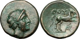 Greek Italy.Southern Lucania, Thurium.AE 14 mm. c. 280-260 BC.D/ Head of Apollo right, with short hair.R/ ΘOY. Horse prancing right; below, monogram.H...