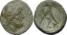 Greek Italy.Bruttium, Brettii.AE Unit, 211-208 BC.D/ Head of Zeus right, laureate.R/ Naked warrior striding right, holding spear and large oval shield...