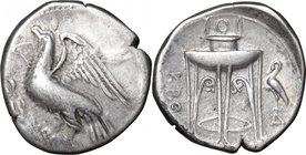 Greek Italy.Bruttium, Kroton.AR Stater, 350-300 BC.D/ Eagle standing left on olive-branch, wings open.R/ Tripod; to right, crane.HN Italy 2174.AR.g. 7...