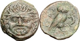 Sicily.Kamarina.AE Tetras, 420-410 BC.D/ Gorgoneion.R/ Owl standing right, holding lizard.SNG Cop. -. Westermark-Jenkins 185.AE.g. 3.00 mm. 16.00VF.