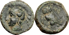 Sicily.Kamarina.AE Tetras, 413-405 BC.D/ Head of Athena left, helmeted.R/ Owl standing left, holding lizard.SNG Cop. 169.AE.g. 3.46 mm. 14.00About VF.