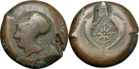 Sicily.Syracuse.Dionysios I (405-367 BC).AE Drachm, c. 395 BC.D/ Head of Athena left, helmeted.R/ Two dolphins; between, star.CNS II, 62.AE.g. 36.81 m...
