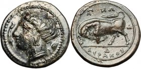 Sicily.Syracuse.Agathokles (317-289 BC).AE, 317-310 BC.D/ Head of Persephone left; before, symbol.R/ Bull charging left.SNG 762var.AE.g. 3.35 mm. 16.0...
