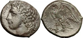 Sicily.Syracuse.Fourth democracy (c. 289-287 BC).AE, 289-287 BC.D/ Head of Zeus Hellanios left, laureate.R/ Eagle standing on thunderbolt left.SNG Cop...