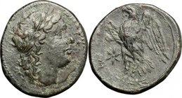 Sicily.Syracuse.Fourth democracy (c. 289-287 BC).AE, 289-287 BC.D/ Head of Zeus Hellanios right, laureate.R/ Eagle standing on thunderbolt left; to le...