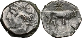 Punic Sardinia.AE 21 mm., Second Punic War, c. 218-201 BC.D/ Head of Tanit left, wearing wreath.R/ Bull standing right; above, star.SNG Cop. 387-8.AE....