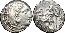 "Continental Greece.Kings of Macedon.Alexander III ""the Great"" (336-323 BC).AR Drachm, Kolophon mint, 329-323 BC.D/ Head of Heracles right, wearing lio..."