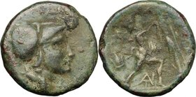 Continental Greece.Kings of Macedon.Antigonos II Gonatas (277-239 BC).AE 18mm, 277-239 BC.D/ Head of Athena right, helmeted.R/ Pan standing right, ere...