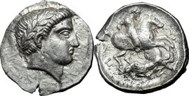 Continental Greece.Paeonia.Patraos (340-315 BC).AR Tetradrachm, 340-315 BC.D/ Head of Apollo right, laureate.R/ Warrior on horse rearing right, speari...