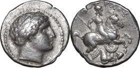 Continental Greece.Paeonia.Patraos (340-315 BC).AR Tetradrachm, 340-315 BC.D/ Head of Apollo right, laureate,.R/ Horseman right, spearing fallen enemy...