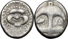 Continental Greece.Thrace, Apollonia Pontika.AR Drachm, second half of 4th century BC.D/ Gorgoneion.R/ Anchor; to left, crayfish; to right, A.SNG Fitz...