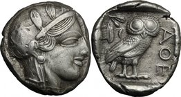 Continental Greece.Attica, Athens.AR Tetradrachm, 479-393 BC.D/ Head of Athena right, helmeted, with frontal eye.R/ Owl standing right, head facing; b...