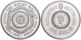 Australia. Elizabeth II. 1 dollar. 1988. (Km-113). Ag. 31,10 g. The Holley Dollar. PR. Est...35,00.