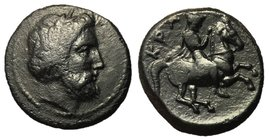 Thessaly, Krannon, 350 - 300 BC, Dichalkon, Zeus & Warrior, ex BCD Collection, Unpublished