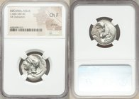 LUCANIA. Velia. Ca. 400-340 BC. AR didrachm or stater (22mm, 2h). NGC Choice Fine, graffito. Head of Athena left, wearing crested Attic helmet decorat...