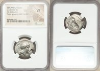 LUCANIA. Velia. Ca. 340-300 BC. AR didrachm or nomos (23mm, 8h). NGC VF. 5th Period, Theta group, ca. 340-334 BC. Head of Athena right, wearing creste...