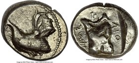 SICILY. Himera. Ca. 475-470 BC. AR drachm (17mm, 5.47 gm, 9h). NGC Choice VF 4/5 - 4/5. Ca. 476/5 BC. Rooster standing left; dotted border / IME-P-AIO...